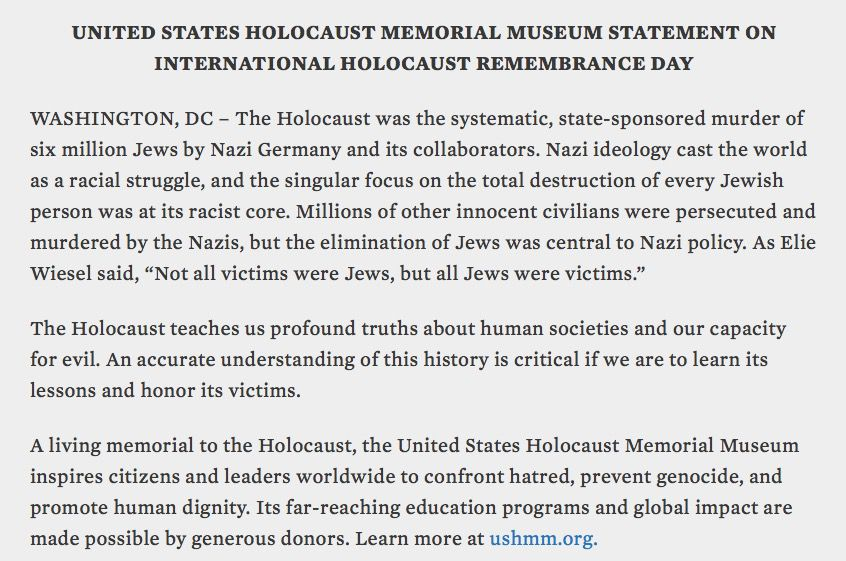 Official statement from the United States Holocaust MemorialMuseum