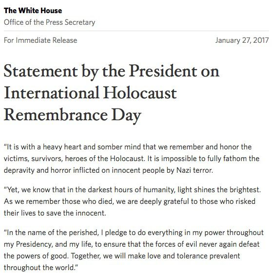 Official White House statement on Holocaust Remembrance Day on the 72nd anniversary of Auschwitz-Berkinau's liberation.