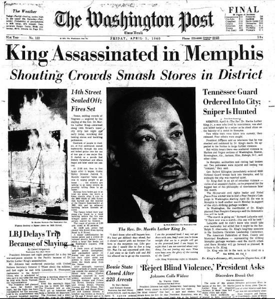 The Washington Post on April 4, 1968 (via<a href=
