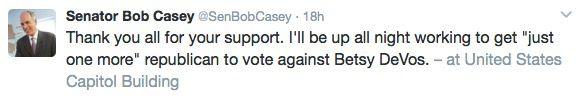 Tweet from Senator Bob Casey on February 6,2017