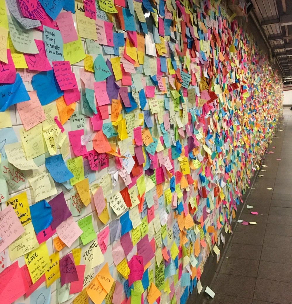 Subway Therapy wall in New York City's Union Square/14th Street subway station. Taken December 2016. [Photo by Abbey Barker]