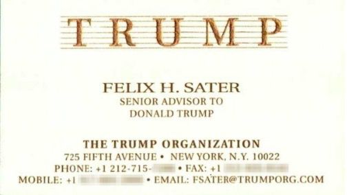Felix Sater's business card — authenticity confirmed by Trump Organization's General Counsel, Alan Garten.