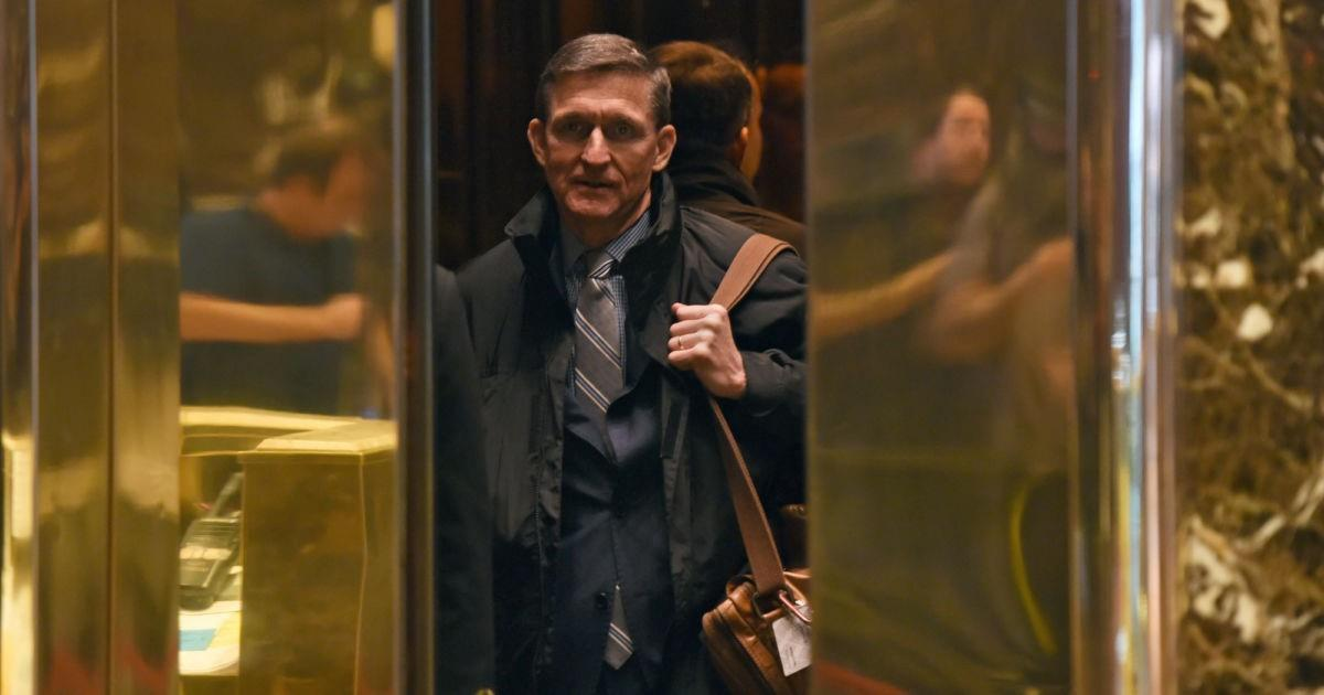 Michael Flynn In A Trump Tower Elevator Credit: Timothy A. Clary / AFP / Getty