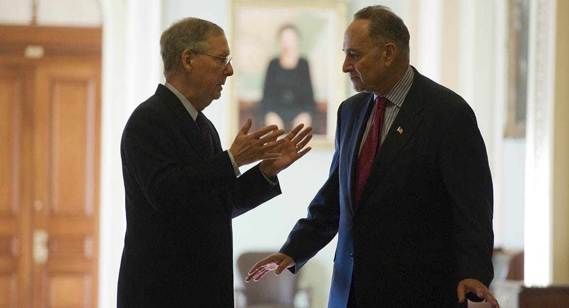 A rare moment of conversation is captured between the two party leaders, Senate Majority Leader Mitch McConnell and Senate Minority Leader Chuck Schumer