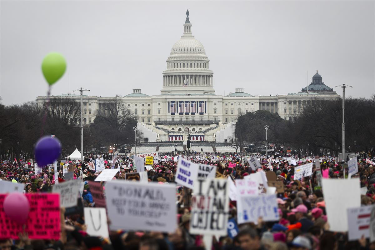 Protesters gather on the National Mall for the Women's March on Washington during the first full day of Donald Trump's presidency<strong><p class=
