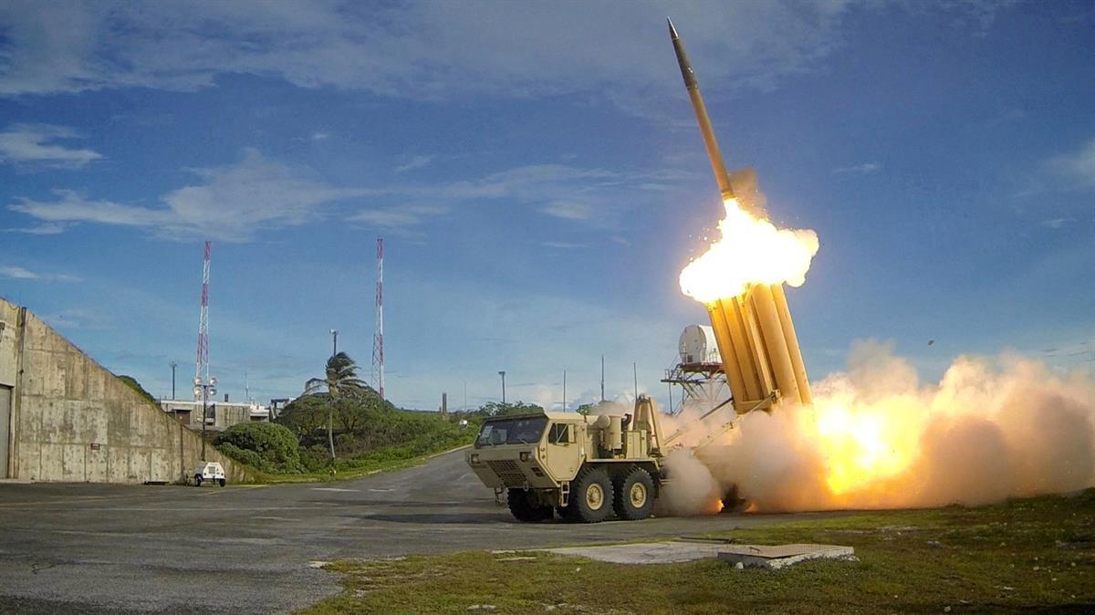 A Terminal High Altitude Area Defense (THAAD) interceptor is launched during a successful intercept test (Department ofDefense)