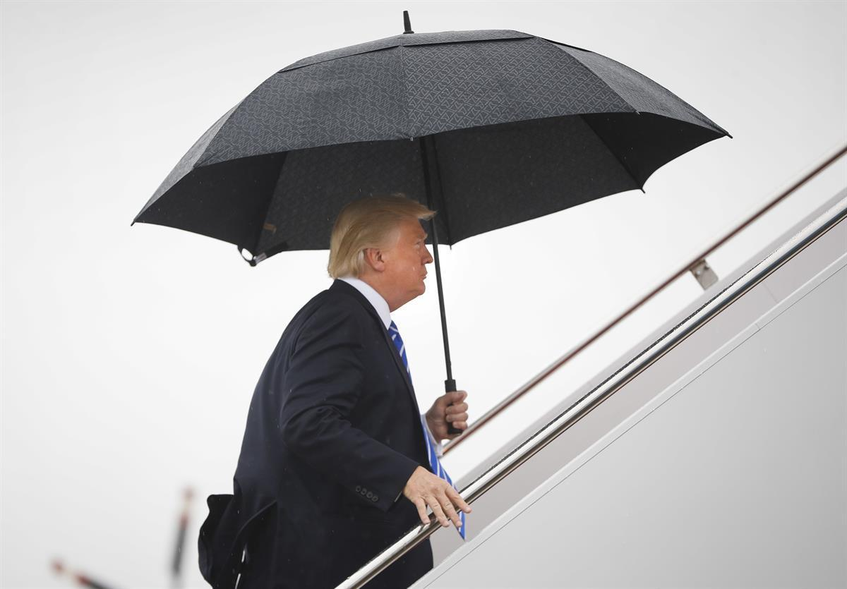 President Donald Trump boards Air Force One at Andrews Air Force Base, Md., Wednesday, Sept. 6, 2017—(AP/Pablo Martinez Monsivais)