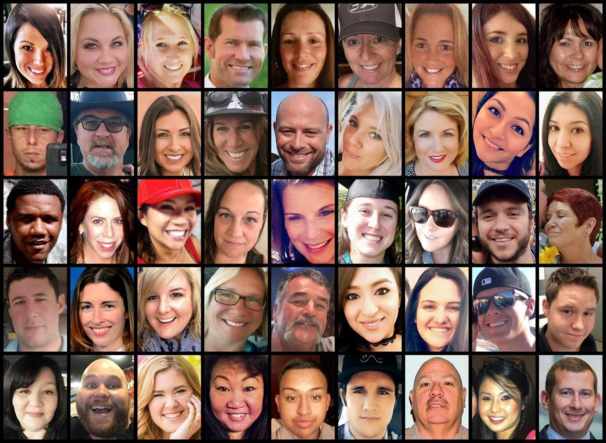 This photo combination shows some of the victims of the mass shooting that occurred at a country music festival in Las Vegas on Sunday, Oct. 1, 2017. Top row from left are: Hannah Ahlers, Heather Warino Alvarado, Carrie Barnette, Steven Berger, Candice Bowers, Denise Burditus, Sandy Casey, Andrea Castilla and Denise Cohen. Second row from left are: Austin Davis, Tom Day Jr., Christiana Duarte, Stacee Etcheber, Brian Fraser, Keri Lynn Galvan, Dana Gardner, Angie Gomez and Rocio Guillen. Third row from left are: Charleston Hartfield, Jennifer Topaz Irvine, Nicol Kimura, Jessica Klymchuk, Rhonda LeRocque, Kelsey Meadows, Calla Medig, Sonny Melton and Pati Mestas. Fourth row from left are: Adrian Murfitt, Rachael Parker, Carrie Parsons, Lisa Patterson, John Phippen, Melissa Ramirez, Jordyn Rivera, Quinton Robbins and Cameron Robinson. Bottom row from left are: Lisa Romero-Muniz, Christopher Roybal, Bailey Schweitzer, Laura Shipp, Erick Silva, Brennan Stewart, Derrick Taylor, Michelle Vo and Bill Wolfe Jr. (APPhoto)
