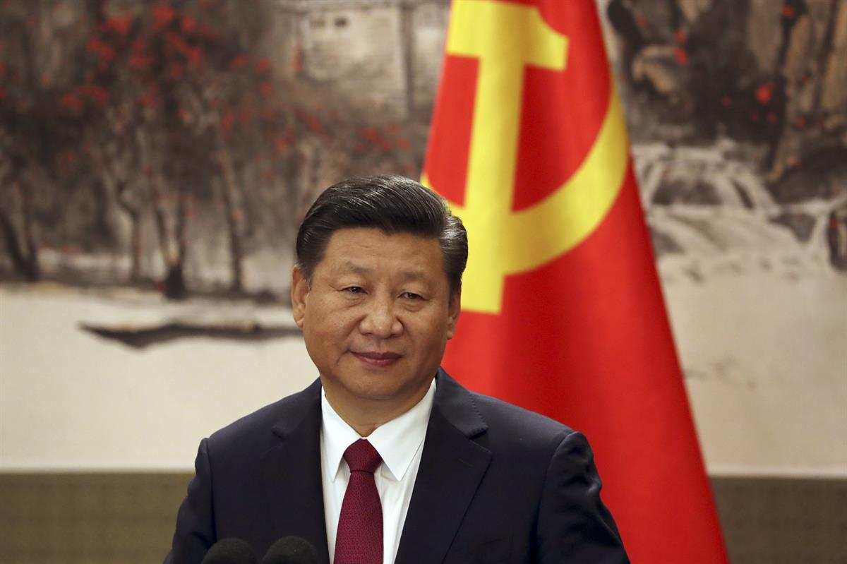 Chinese President Xi Jinping attends a press event at Beijing's Great Hall of the People on Wednesday, Oct. 25, 2017- (AP Photo/Ng HanGuan)