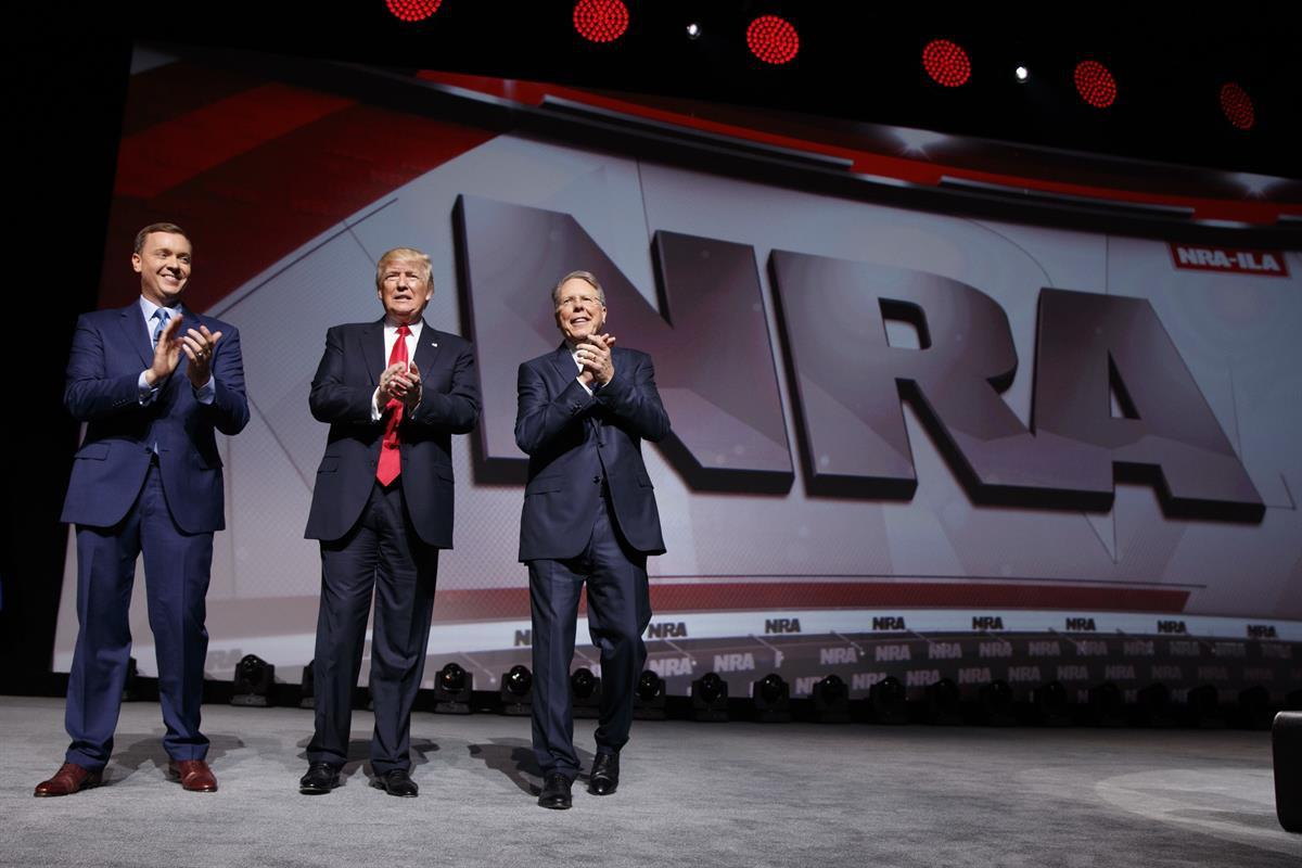 Senate Minority Leader Mitch McConnell (R-KY), at the leadership forum at the National Rifle Association's annual convention Friday, April 25, 2014 | President Donald Trump at the National Rifle Association Leadership Forum, Friday, April 28, 2017, in Atlanta.—(AP Photo/AJMast)