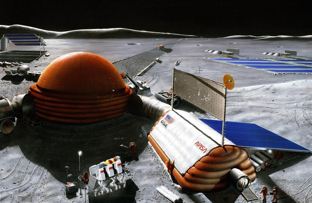 NASA concept for a lunar base (Wikimedia Commons)