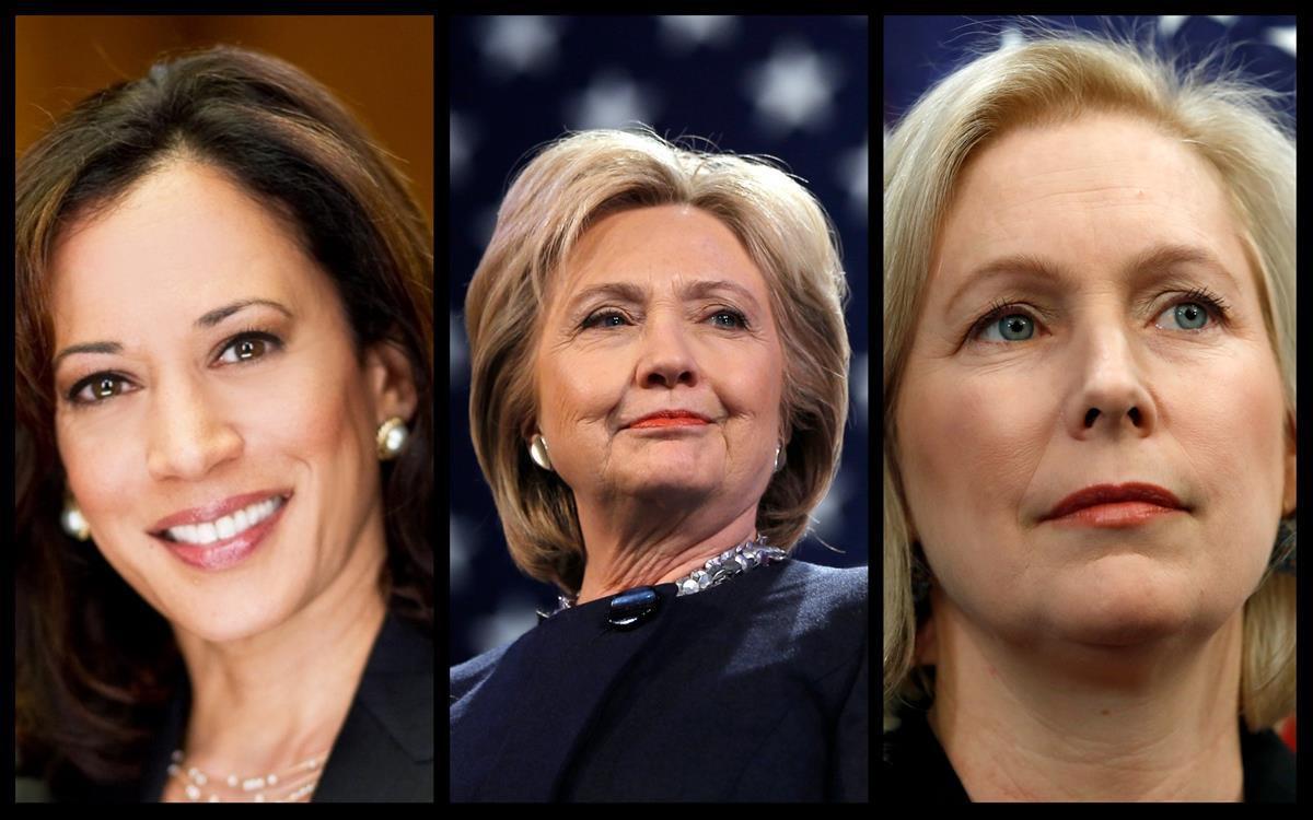 From Left: Senator Kamala Harris (D-CA), Former Secretary Of State Hillary Clinton, and Senator Kirsten Gillibrand (D-NY)-<strong><p class=