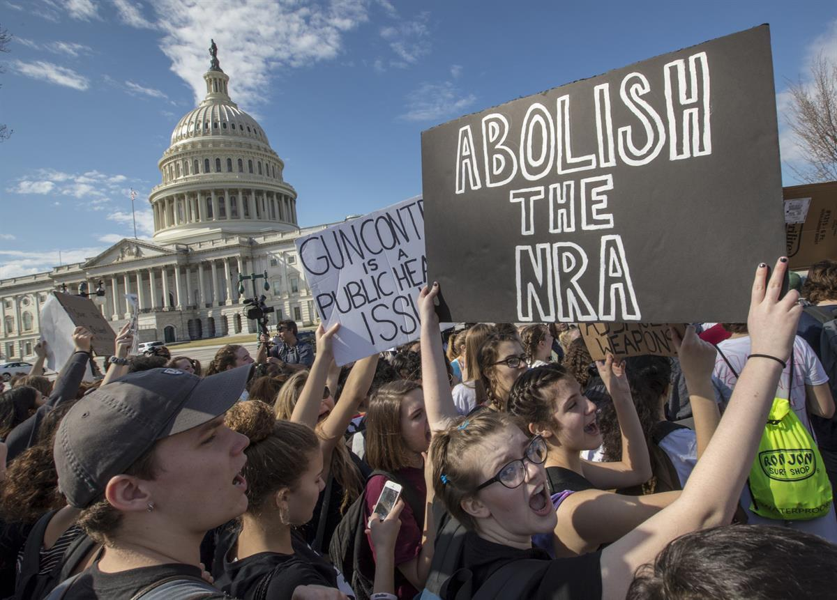 Students from Montgomery County, Md., in suburban Washington, rally in solidarity with those affected by the shooting at Marjory Stoneman Douglas High School in Florida, at the Capitol in Washington— Feb. 21, 2018 (AP Photo/J. Scott Applewhite, File)